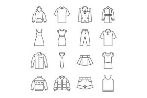 Clothing flat icons