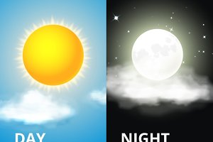 Day and night, sun and moon