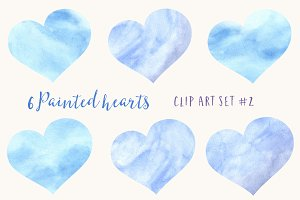 6 Blue Watercolor Hearts Clipart Set