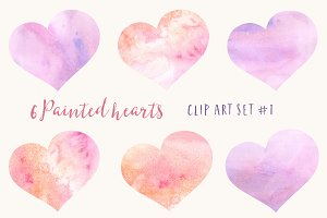 6 Pink Watercolor Hearts Clipart Set