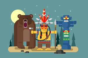 Native american character with bear