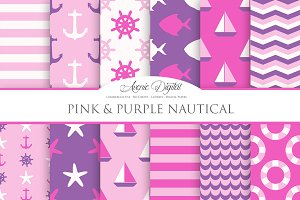 Pink & Purple Nautical Digital Paper
