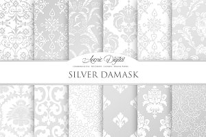 Silver Damask Digital Paper