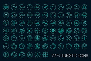 Set of vector futuristic icons