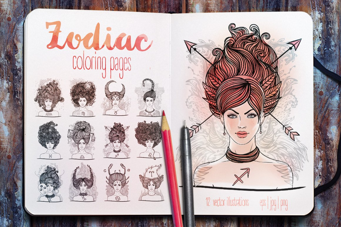 Coloring Pages: Zodiac Signs Girls ~ Illustrations ~ Creative Market