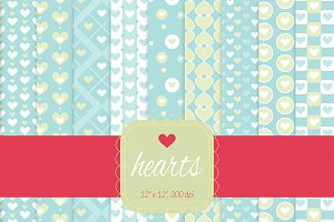 Blue Hearts Digital Paper