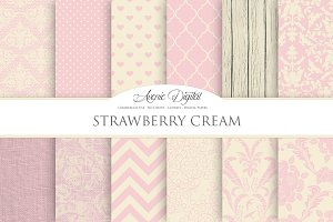 Strawberry Cream Digital Papers