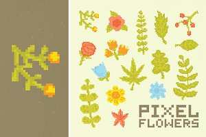 Pixel flowers set