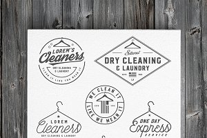 Vintage dry cleaning emblems, labels