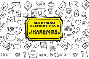 Big hand drawn design elements pack