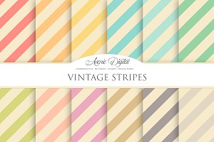 Vintage Candy Stripes Digital Paper