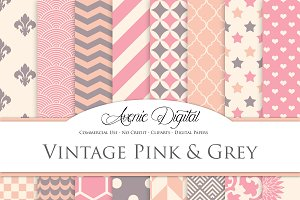 Vintage Pink and Gray Digital Paper