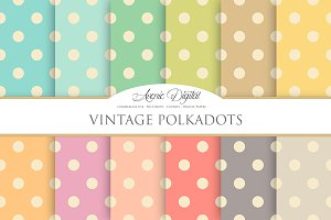 Vintage Polkadots Digital Paper