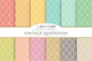 Vintage Quatrefoil Digital Paper