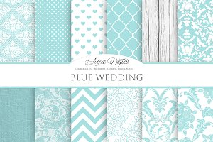 Blue Wedding Digital Paper