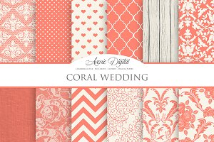 Coral Wedding Digital Paper