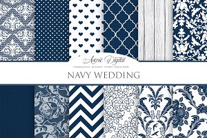 Navy Blue Wedding Digital Paper