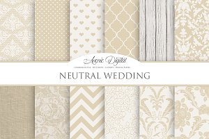 Neutral Wedding Digital Paper