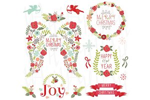 Floral Angel Wing Christmas Elements