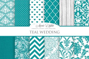 Teal Wedding Digital Paper
