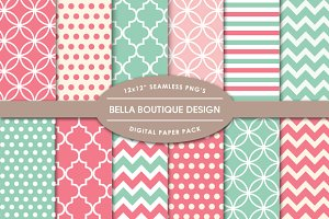 Vector & PNG Patterns - Coral & Mint