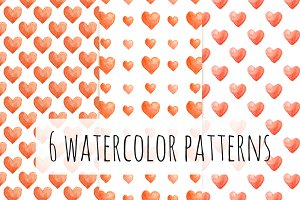 6 Watercolor Hearts Patterns