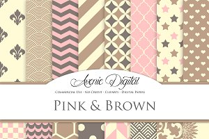 Pink and Brown Digital Paper