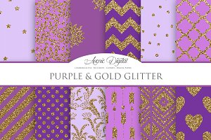 Purple and Gold Digital Paper