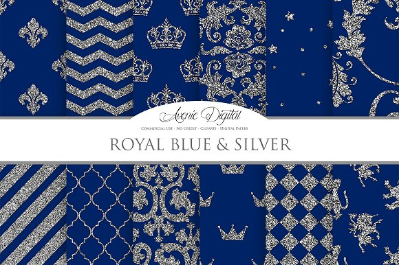 Royal Blue and Silver Digital Paper
