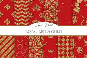 Royal Red and Gold Digital Papers