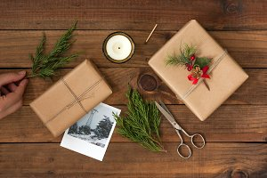 Christmas gift on wooden table ~ holiday photos ~ creative market