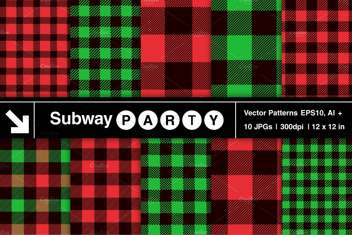 vector christmas plaid patterns blk graphic patterns creative market - Christmas Plaid