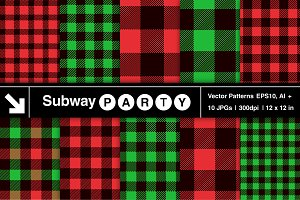 Vector Christmas Plaid Patterns Blk