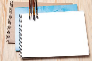 Notepad and brushes