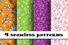 4 seamless floral patterns