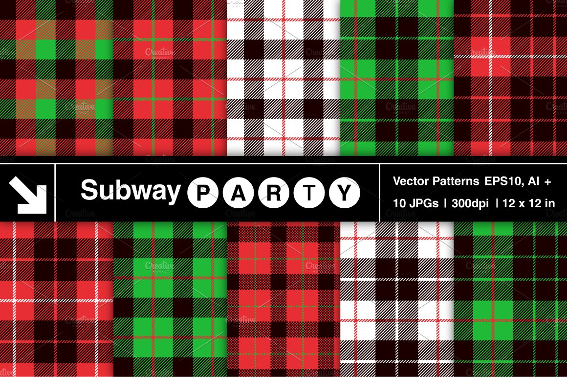 vector christmas tartan patterns graphic patterns creative market - Christmas Plaid
