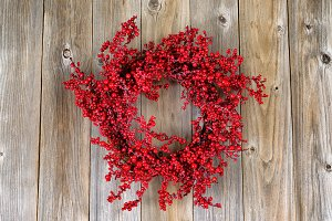 Holly Berry Wreath on Vertical Wood