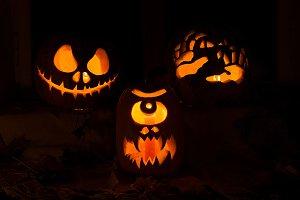 Photo of three pumpkins for Hallowee
