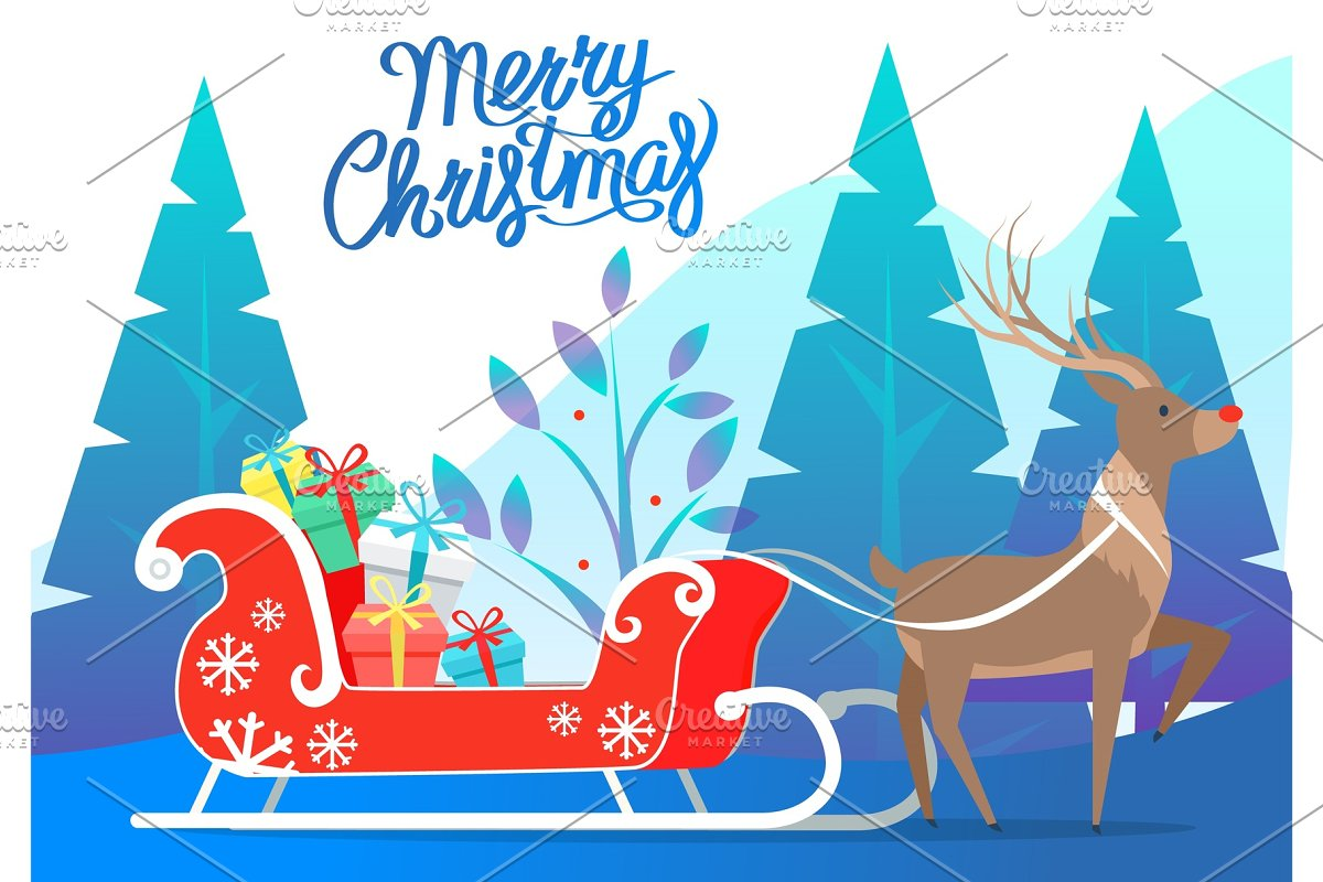 Merry Christmas Reindeer with
