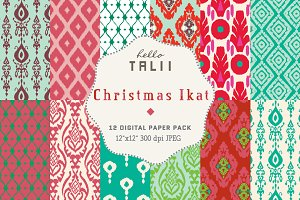 Christmas Ikat Digital Paper