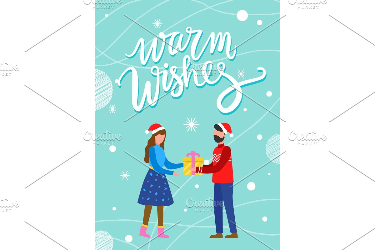 Couple with Present, Warm Wishes