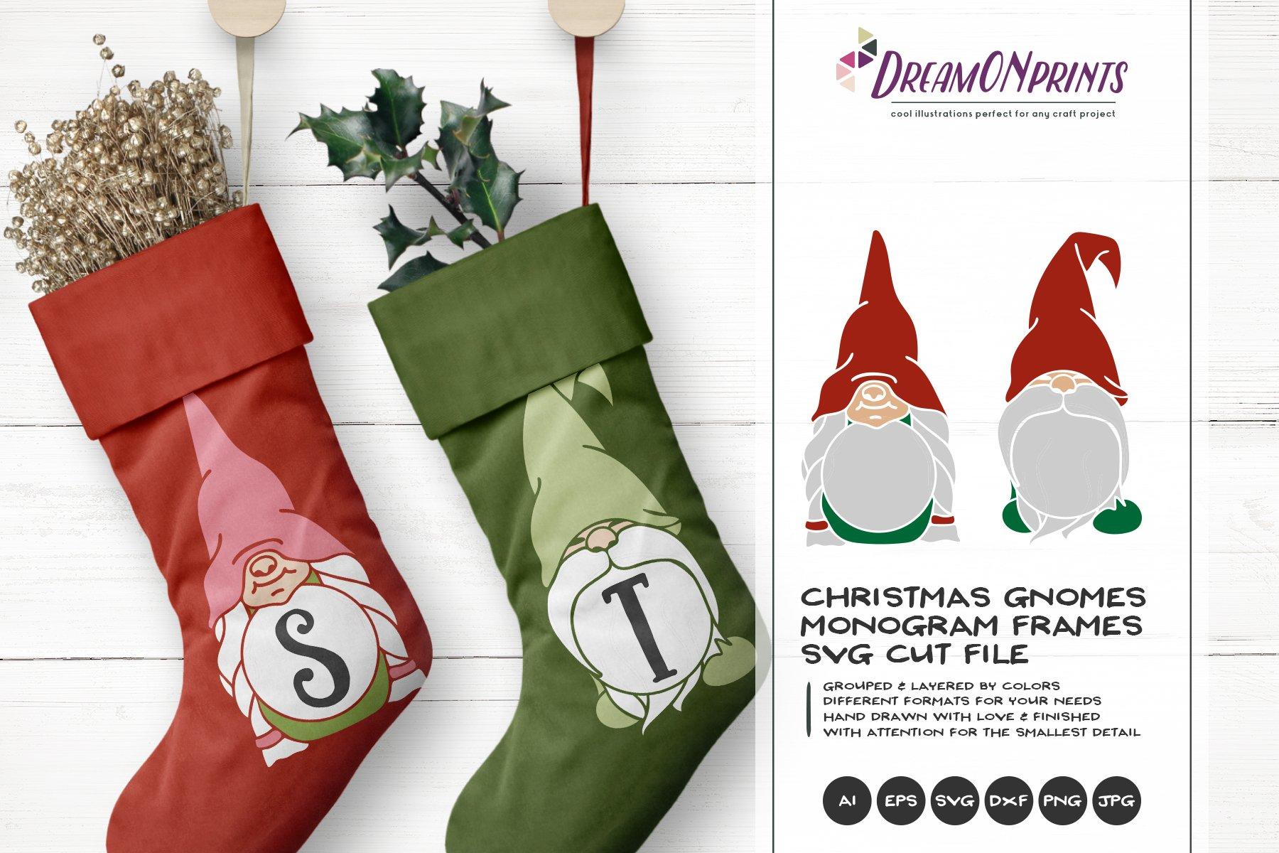 Monogram Frames Christmas Gnomes Pre Designed Photoshop Graphics Creative Market