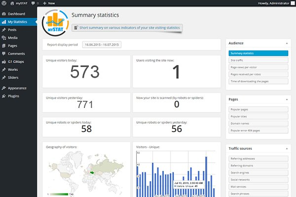 WordPress Plugins: mySTAT - Site Visitor Statistics for WorPress