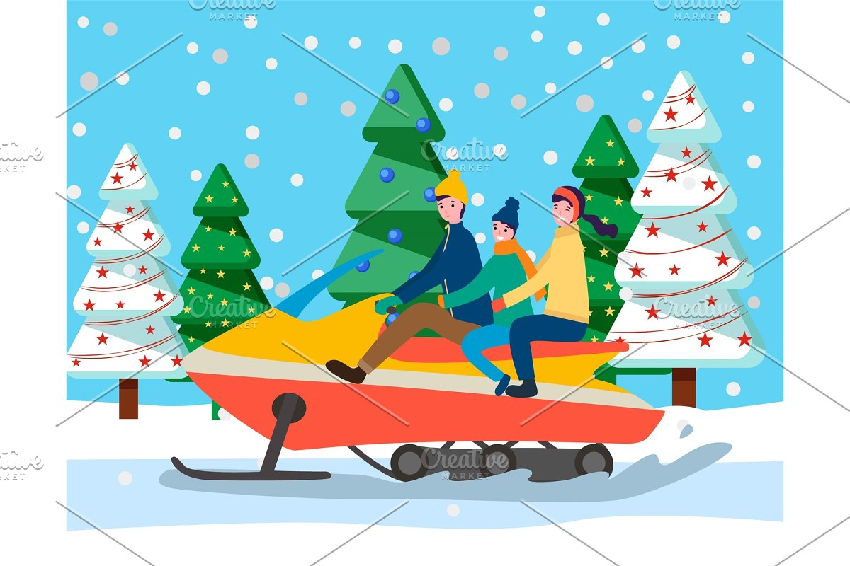 Family Traveling on Sleigh Car in