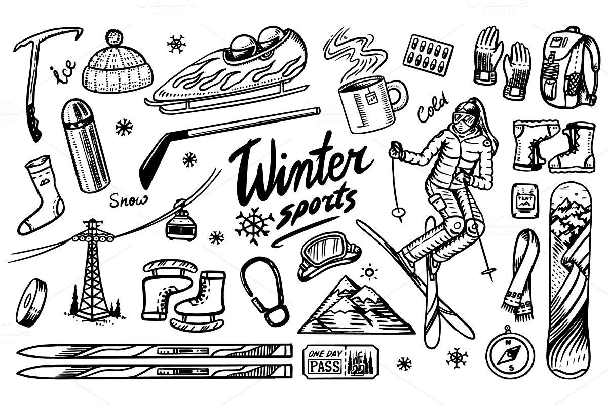 Winter sports season. Vintage