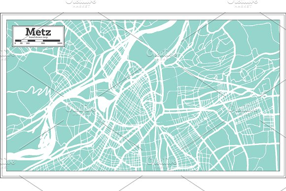 Metz France City Map in Retro Style. in Illustrations - product preview 7