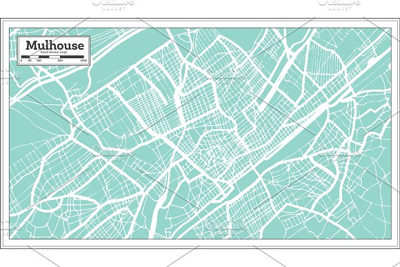 Mulhouse France City Map in Retro in Illustrations - product preview 7