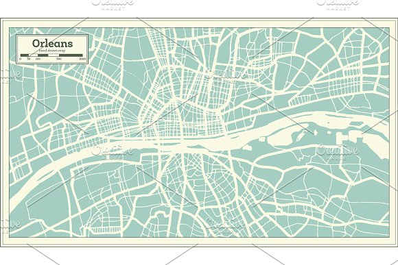 Orleans France City Map in Retro in Illustrations - product preview 7
