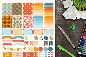 Autumn planner sticker weekly set.