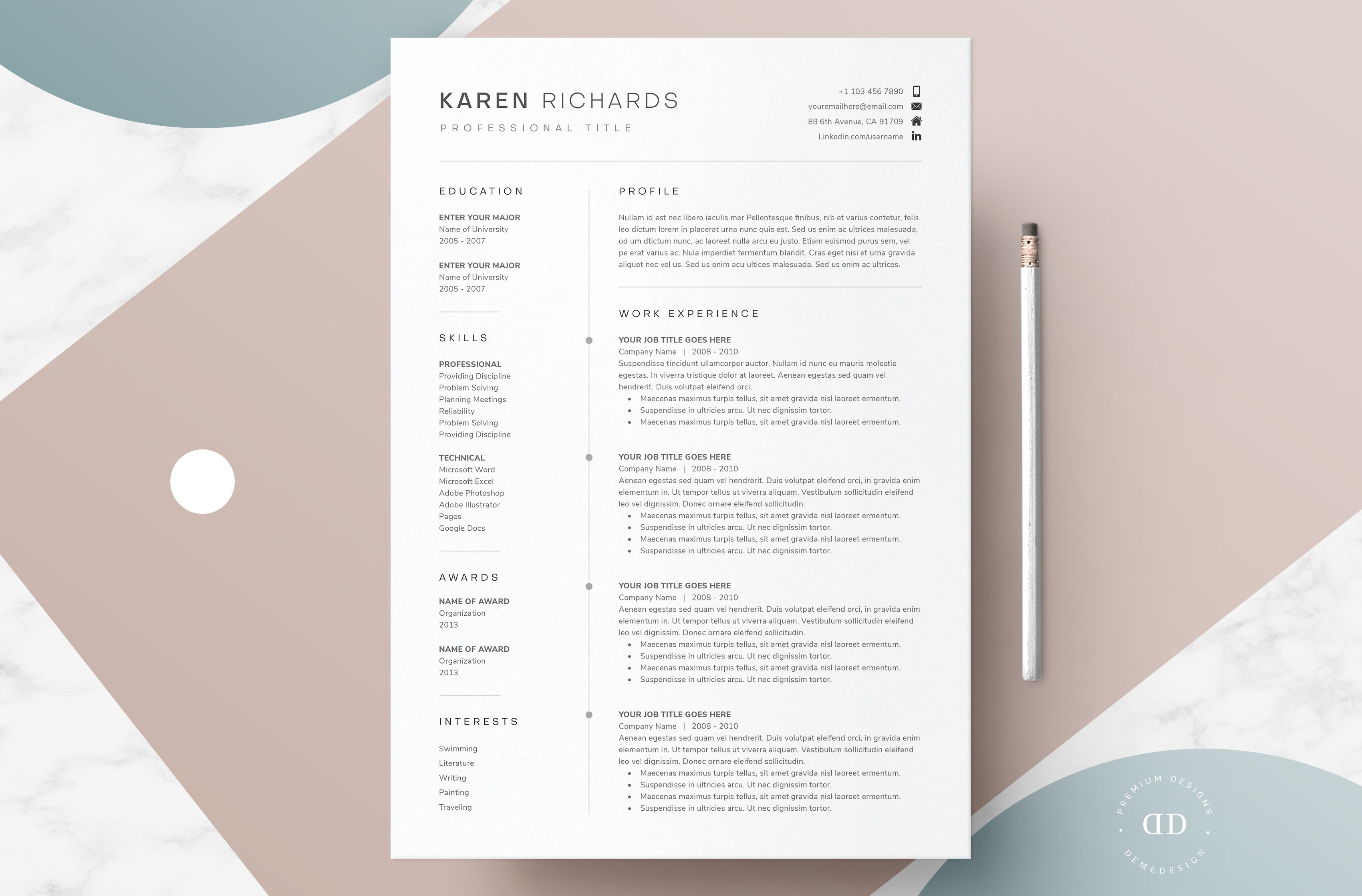 One Page Resume Template Creative Resume Templates Creative Market